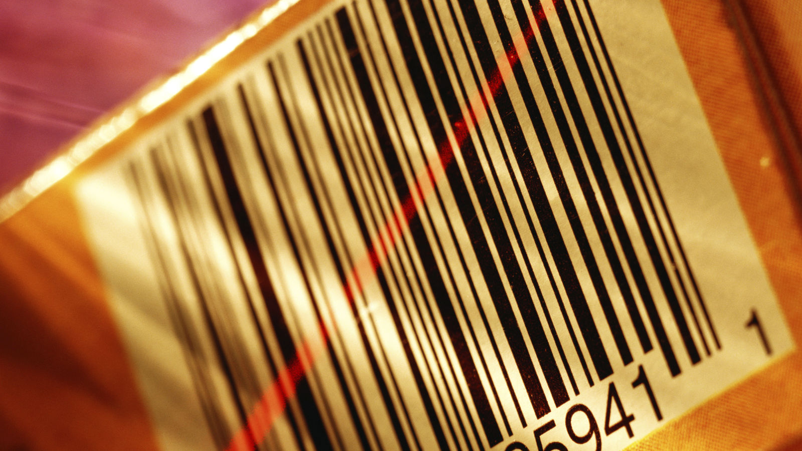Retail Bar Code Being Scanned with Red Laser