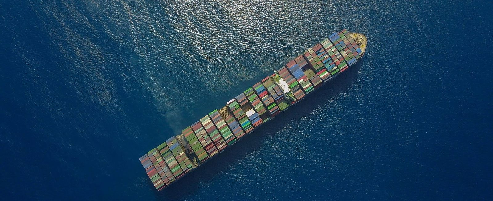 Aerial view ocean container ship
