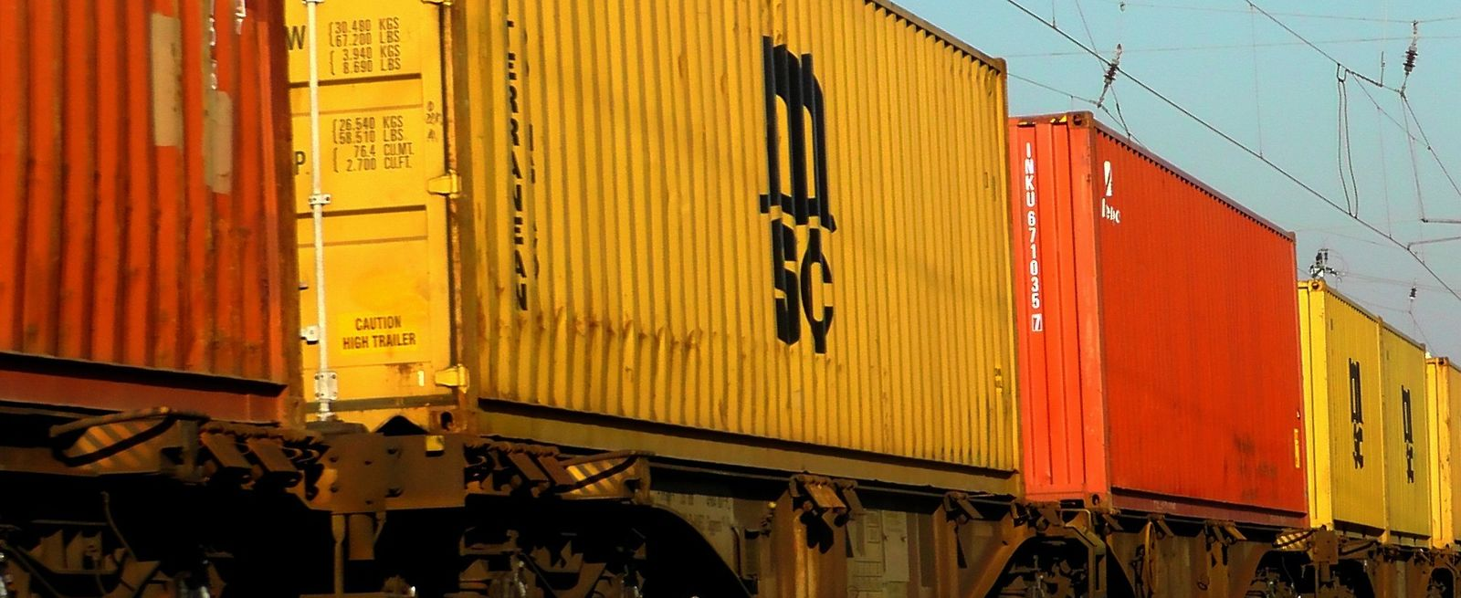MSC containers on freight train